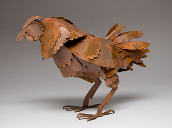 Abraxas Crow - steel Hen Sculpture