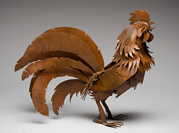 Abraxas Crow - steel Rooster Sculpture